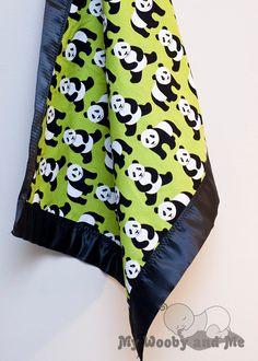 Pandas in Lime Minky Baby Blanket with Satin Trim by MyWoobyandMe Panda Love, Panda Bear, Panda Quilt, Unisex Baby Room, Baby Tummy Time, Panda Baby Showers, Knot Blanket, Panda Nursery, Baby Kids