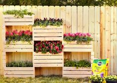 15 Fence Planters That'll Have You Loving Your Privacy Fence Again Tiny Garden Ideas, Garden Yard Ideas, Backyard Projects, Outdoor Projects, Wood Projects, Vertical Plant Wall, Vertical Planter, Small Gardens, Outdoor Gardens