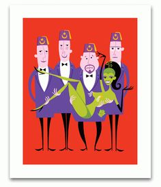 """Image of """"Shriners"""" Unframed Serigraph Print  12x14"""