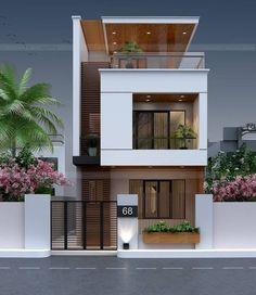 Modern Exterior House Designs, Narrow House Designs, Modern Small House Design, Modern House Facades, Small House Exteriors, Minimalist House Design, Modern Houses, Exterior Design, 2 Storey House Design