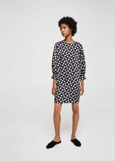 Gestippelde jurk -  Dames | MANGO Nederland