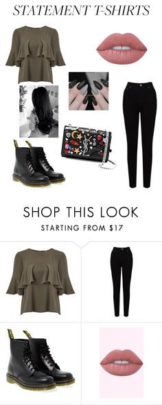 """""""STATEMENT T-SHIRTS👚"""" by giuggi21 ❤ liked on Polyvore featuring Miss Selfridge, EAST, Dr. Martens, Capelli New York and Yves Saint Laurent"""