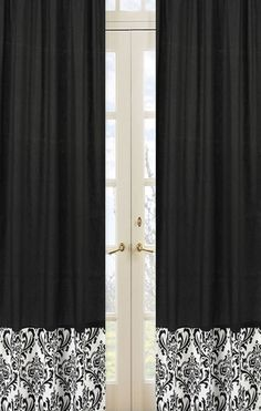 Curtains  http://www.beyond-bedding.com/childrens-black-white-curtains-girls-panels-kids-damask-window-treatment-jojo-isabella-bedding.html