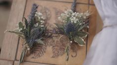 Baby's breath and thistle corsage Material Flowers, Reception Party, Gypsophila, Flower Bouquet Wedding, Buttonholes, Flower Arrangements, Party Supplies, Wedding Fun, Wedding Stuff