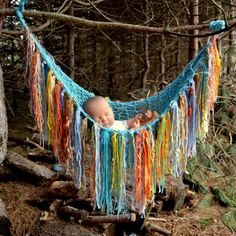 "fringe Baby PHoTO PROP hanging Stork Bed Versatile Hammock Pouch Throw ""BeACH DaY aqua yellow orange grey blue Pick your colors Unigender"