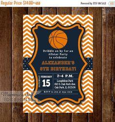 Basketball Invitation Basketball Printable Sports by EllisonReed