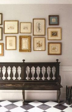 hallway- richard shapiro- old master drawings with eclectic frames and mats