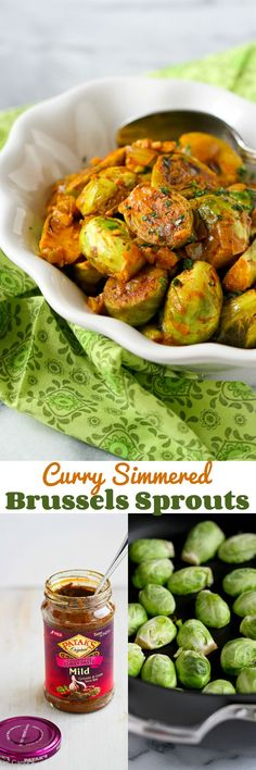 Curry Simmered Brussels Sprouts…An easy way to infuse a ton of flavor into this side dish recipe.  146 calories and 4 Weight Watchers PP | cookincanuck.com #vegan