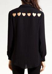 Chiffon Heart Cut Out Long Sleeves - Black $27.00