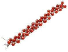 Sapphires Coral Diamonds White Gold Berries Bracelet