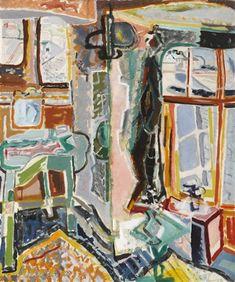 Patrick Heron, BEDROOM, MOUSEHOLE, 1946 Abstract Painters, Abstract Art, Patrick Heron, Laundry Art, Georges Braque, Royal Academy Of Arts, House Illustration, Global Art, Art Market