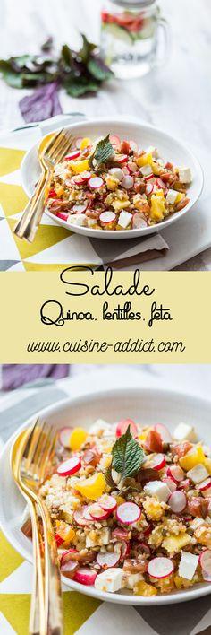 Salade de Lentilles & Quinoa à la Feta via @cuisineaddict Healthy Soup Recipes, Detox Recipes, Vegetarian Recipes, Salad Dressing Recipes, Salad Recipes, Recipe Maker, Cuisine Diverse, Happy Vegan, Ombré Hair