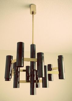 Black & Brass Chandelier for Boulanger by Sciolari