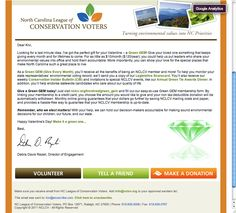 North Carolina League of Conservation Voters email appeal focusing on monthly giving.