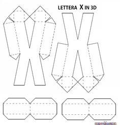 LETTERE DELL'ALFABETO E NUMERI IN 3D FAI DA TE | CreaConLaCarta Tag Alphabet, Alphabet Templates, Diy Crafts For Gifts, Creative Crafts, 3d Paper Projects, 3d Letters, Paper Crafts Origami, Diy Gift Box, Letter Patterns