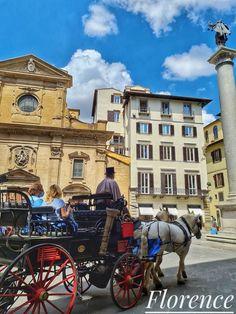 Charrete em Florença, na praça Santa Trinita, na Via Tornabuoni. A Via Tornabuoni, que vai da Ponte Santa Trinità até a Piazza Antinori, é uma das ruas mais luxuosas do centro de Florença. É uma rua muito elegante desde o período do Renascimento, quando passou por um processo de profunda transformação com a construção de inúmeros palácios nobres, que levam o nome das famílias abastadas que eram suas proprietárias. A rua abriga lojas de grifes renomadas e luxuosas.