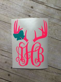 Deer Antler Car Decal with or without bow by HornesMonogramming