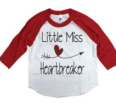 4d29ba60a Little Miss Heartbreaker Valentines Day Shirt Kids by Skippitidoo Valentines  Day Shirts, Baseball Tees,
