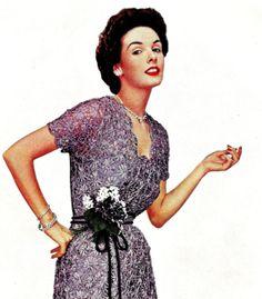 1950s Ribbon Daisy Evening Dress using Daisy Knitter  by eStitches, $3.75