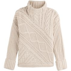 Polo Ralph Lauren Wool-Alpaca Pullover ($245) ❤ liked on Polyvore featuring tops, sweaters, beige, fisherman cable knit sweater, wool sweater, aran sweater, pink sweater and ribbed turtleneck sweater