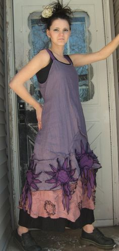 Purple Linen Sunflower Dress XL by sarahclemensclothing on Etsy, $169.00