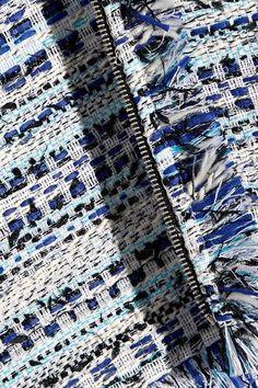 Karl Lagerfeld - Satin-trimmed Fringed Metallic Tweed Mini Skirt - Blue - IT42