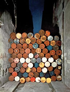 Wall of Oil Barrels - The Iron Curtain, Rue Visconti, Paris, 1961-62  //  Chrirsto and Jean Claude