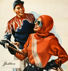 JANTZEN advertisement for fashionable ski sweaters! Who doesn't love vintage ski fashion? This item is the original vintage poster from 1955!