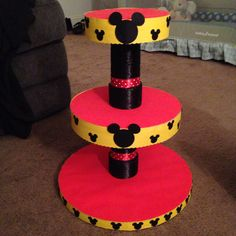 Cupcake tower I made for my sons Mickey Mouse 1st birthday party!