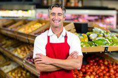 Smiling Man, Consumerism, Apron, Smile, Stock Photos, Marketing, Portrait, How To Wear, Shopping