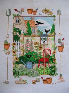 Cross Stitch Sampler jardinage thème terminé et prêt à cadre LittlestSister fait à la main