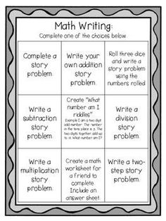 I use this chart to have students make a choice during math writing. Students love to pick what they are going to write about! Check out my other math resources! Maths 3e, Math Math, Math Fractions, Math Games, Math Teacher, Math Vocabulary, Multiplication, Fourth Grade Math, Second Grade Math