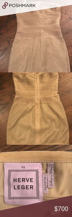Authentic Herve Leger Gold Bandage Dress Excellent condition Herve Leger Dresses Mini