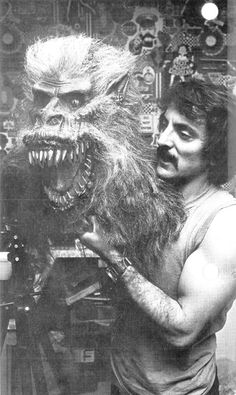 "Tom Savini with ""Fluffy"" the Crate Beast on the set of Creepshow . Tell it to call you Billy...every one else does..."