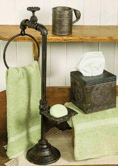 Spigot Soap and Towel Holder, Bath Tumbler, Tissue Holder Prim Decor, Country Decor, Ladder Decor, Primitive Country Bathrooms, Country Kitchens, Bathroom Counter Storage, Country Sampler, Rustic Bathroom Decor, Gold Interior