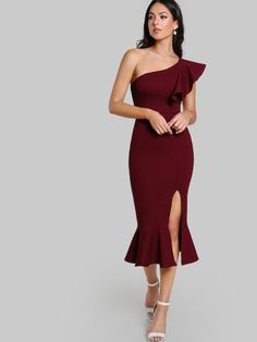 a851fa016ddd One Shoulder Slit Pep Hem Dress  dress180831726  -  34.00   moonbaye.com  Abito
