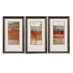 The Paragon Unsolar Framed Wall Art - Set of 3 features abstract triptych in bands of orange that enliven your space with color. This trio of prints features white matting. Each comes in a sleek silver frame with black accents. Frames On Wall, Framed Wall Art, Wall Art Decor, Framed Canvas, Painting Frames, Painting Prints, Wall Art Prints, Three Piece Wall Art, Contemporary Wall Decor