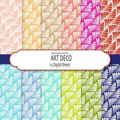Art Deco  Digital paper pack , digital scrapbook paper - 12 jpg files 12x12 - INSTANT DOWNLOAD Pack 098 on Etsy, $2.50