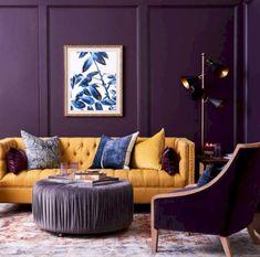 20 Dazzling Purple Living Room Designs - Alexa Home Decor Living Room Color Schemes, Paint Colors For Living Room, My Living Room, Living Room Designs, Living Room Decor, Colourful Living Room, Beautiful Living Rooms, Purple Living Rooms, Dark Purple Rooms