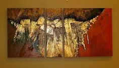 Geological Abstract Art Painting GOLDEN MANTLE by Colorado Mixed Media Artist Carol Nelson, painting by artist Carol Nelson