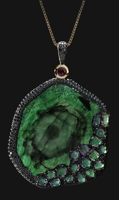 ORIGINAL SIN PENDANT by VOTIVE JEWELRY• Emerald, Black Diamonds, Red and Multicoloured Sapphires, 18k Yellow Gold