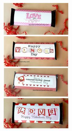 It's Written on the Wall: 12 Valentine's Day Candy Bar Wraps-For Regular, XL and Giant Chocolate Hershey Bars-Teacher Appreciation Gift