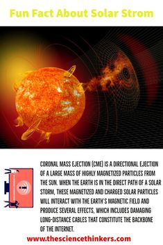 A Coronal Mass Ejection (CME) also known as Solar Strom, is a directional ejection of a large mass of highly magnetized particles from the sun. When Earth is in the direct pathway of a solar storm these magnetized and charged solar particles will interact with Earth's magnetic field and produce several effects. Wich includes damaging the long-distance cables, which are basically the backbone of today's internet. Earth's Magnetic Field, Long Distance, Fun Facts, Solar, Internet, Science, Sun, Funny Facts, Long Distance Love