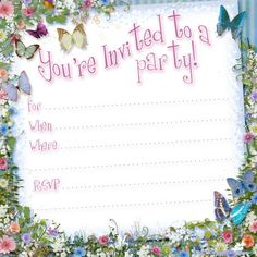 *** free butterfly party invitation http://partyinvitationsideas.com/free-printable-butterfly-party-invitation-template-printable-party/