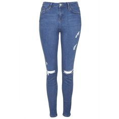 TopShop Tall Moto Blue Rip Jamie Jeans (184.110 COP) ❤ liked on Polyvore featuring jeans, pants, bottoms, ripped jeans, trousers, mid stone, skinny jeans, high waisted skinny jeans, high-waisted jeans and high-waisted skinny jeans