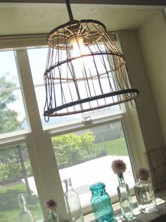 seriously crazy about this diy basket light fixture