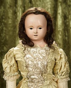"""Rendezvous Auction on Wednesday, April 26th at 7PM EST. 28"""" Rare Grand French Paper Mache poupee with enamel eyes and original wig, body. $1200/1500"""