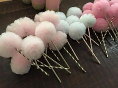 Tulle Poms on Paper Straw Sticks Pom Pom Flowers Pom by UptownAbby