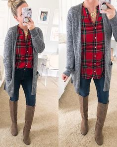 ❤️ I got this tartan plaid tunic blouse in the mail yesterday and it is perfect for the holidays! Size up if you want to… Plaid Shirt Outfits, Plaid Tunic, Casual Outfits, Tunic Blouse, Tartan Plaid, Red Flannel Outfit, Plaid Shirts, Flannels, Sweater Weather