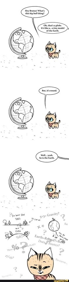 Brutus and Pixie: globes - Tiere - Humor Funny Funny Animal Comics, Cute Animal Memes, Cat Comics, Animal Jokes, Cute Funny Animals, Funny Animal Pictures, Funny Comics, Marvel Comics, Comics Story